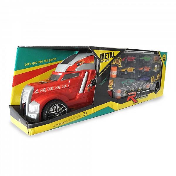 Camión Lanza Autos En Caja X 22 Piezas